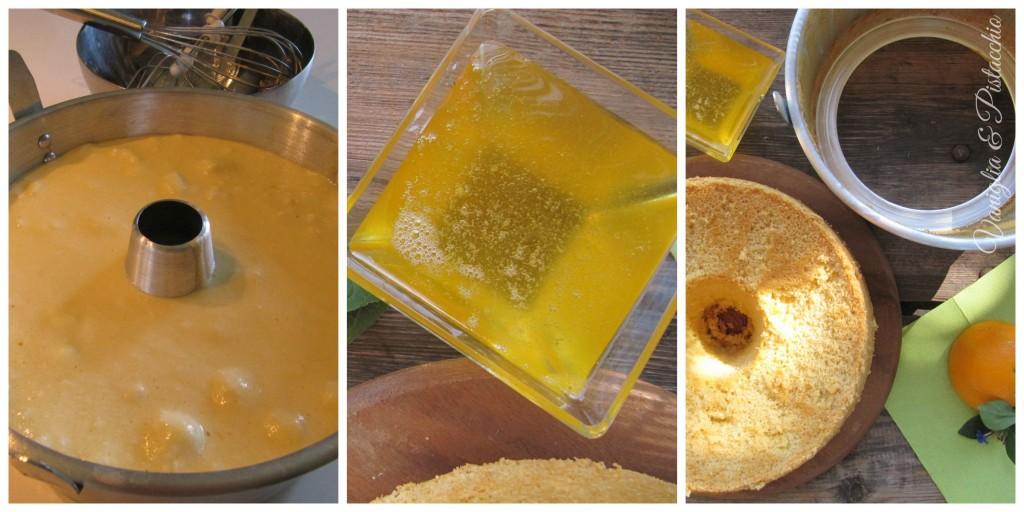 chiffon cake con salsa all'arancia